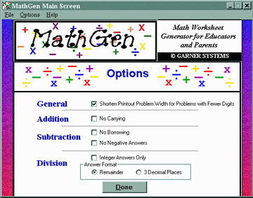 Math Fact Worksheet Generator