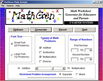 mathgen  math worksheet generator software for k educators demo  demo main screen
